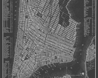 new york city map manhattan street map dark gray