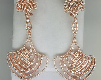Rose gold finish, Sterling silver and CZ, chandelier earrings.