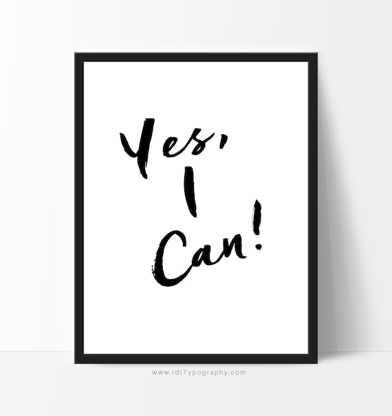 Typography wall art yes i can motivational poster birthday