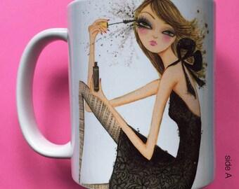 Madelyn Mascara, Coffee Mug, Fashion illustration, Bella Pilar, Fashion mug