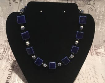 Blue Geometry Necklace
