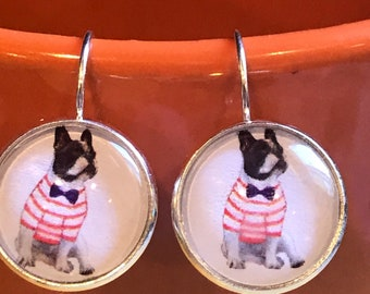 Boston terrier cabochon earrings - 16mm