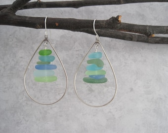 Sea Glass Earrings -Blue - Green -Hoop Earrings - Aqua Sea Glass - Multi Color - Beach Glass Jewelry - Natural - Surf Tumbled
