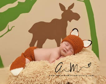 Baby Fox Outfit - Crochet Fox Set - Fox Hat - Baby animal hat - newborn photo prop - character hat - crochet baby outfit - Costume
