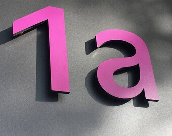 """Modern contemporary Coloured House numbers, 12""""/300mm high in Antigoni font, standoff floating in resin board g"""