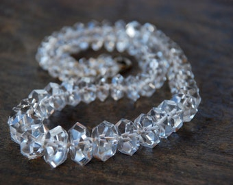 Antique Art Deco Rock Crystal Necklace Clear Quartz Graduated Hexagonal Faceted Hand Knotted Great Gatsby Wedding 1920's // Vintage Jewelry
