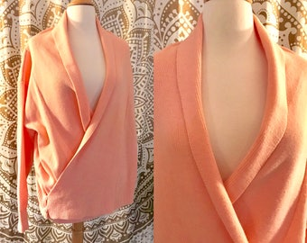 VTG 80s Pink Slouchy Casual Cross Oversized Plunge Sweater Top L