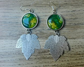 earrings and a green marbled cabochon