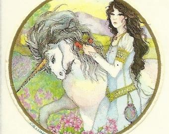 Vintage 80's Illuminations Maiden and Unicorn Sticker
