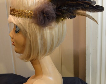 1920s Flapper Gatsby Brown Rose Raven-Like Coque Feather Gold Sequin Headband Headpiece