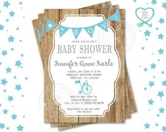 Boy Bike Baby Shower Invitation