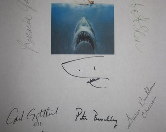 Jaws Signed Film Movie Script Screenplay X11 Autograph Roy Scheider Steven Spielberg Robert Shaw Richard Dreyfuss Peter Benchley Hamilton