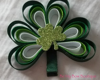St. Patrick's Day Shamrock Hair Bow