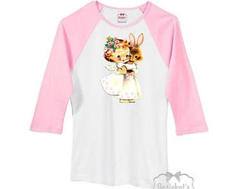 Women Easter Shirt - Easter Bunny Shirt - Ladies Easter Baseball Shirt - Pink White Angel Bunny Floral Shirt -  Junior Size S M L Xl 2XL
