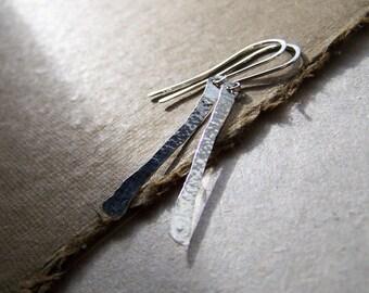 Hammered Sterling Silver Dangle Earrings, OOAK Crafted Earrings