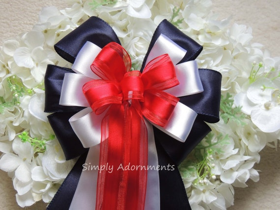 Red White Blue Bow Patriotic Wedding Pew Bow Patriotic Gift Bow 4th of July Party Decor July 4th wreath Bow Independence Day Party Decor