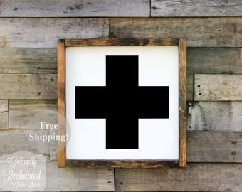 Wood Sign U2022 Swiss Cross U2022 Free Shipping U2022 Home Decor U2022 Home Accents U2022  Farmhouse