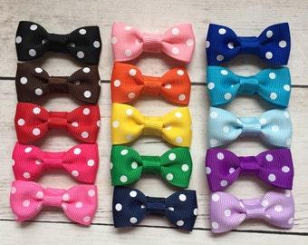 Pick 3 Polka Dot Baby Hair Bows, No-Slip Hair Clips, Baby Hair Bows, Toddler Barrettes, Toddler Hair Clips, Baby Barrettes, Infant Bows