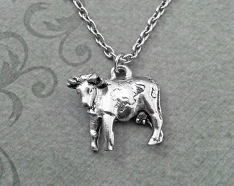 Cow Necklace, SMALL Beef Necklace, Cowgirl Necklace, Southern Necklace, Cow Jewelry, Texas Gift, Cowboy Jewelry, Farmer Gift Farm Jewelry