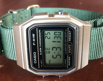 Gold Casio on Green Nato Strap with Gold Accents - Minimalistic watch