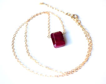 Ruby stone pendant etsy ruby necklace red faceted ruby pendant gold filled sterling silver crystal necklace july aloadofball Images