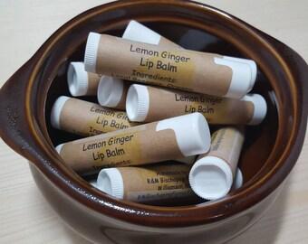 Lemon Ginger Beeswax Lip Balm, Single Tube, Essential Oil Lip Balm, Handmade Lip Balm, Natural Lip Balm, Chapstick, coconut oil lip balm