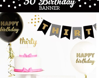 30th Birthday Banner - 30th Birthday Decor - 30th Birthday Ideas - Custom Gold Glitter Banner Thirtieth Birthday -  (EB3062)