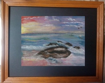 """8x10 Original Soft Pastel Painting, Seascape Artwork, """"By the Seaside"""""""