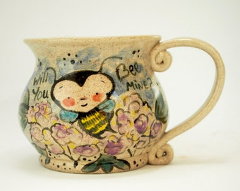 Bees Gift - Bee Coffee Mug - Bee mug pottery - Bee Art - Bee Decor - Honey Bee mug - Bee and Flower