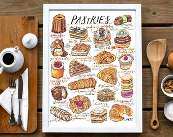 Pastries Print. Bakery. Kitchen decor. Food Illustration. Sweet Things. European. Cakes. Sweet tooth.