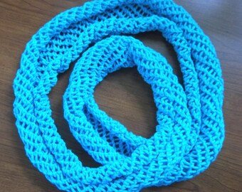 Scarf - Hand Knitted Summer Scarf in Turquoise