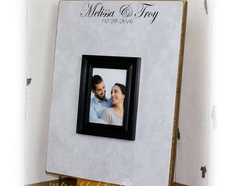 Large Wedding Guest Book Frame, Wedding Sign Decoration, Personalized Wedding Picture Frame, GuestBook Alternative, Guest Book Sign, 17x22