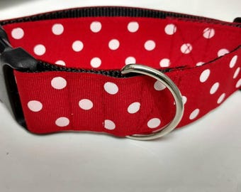 "Red and White Polka Dots - Dog Collar 1.5"" wide - READY to SHIP - ONLY 1 at this Price"