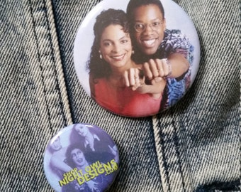 Dwayne and Whitley handmade 2-1/4 inch pinback button pin pins buttons pingame badge badges