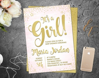It's a Girl Invitation Pink Baby Shower Invites Pink and Gold Invitations Girl Baby Shower Oh Baby Invites Invitation Digital Download