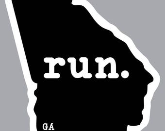 run. - Georgia State Decal (Black)
