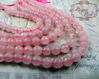 Natural Rose Quartz Faceted Round Beads, 6mm, romance, quartz beads, pink gemstone beads, jewelry making, beading supply - reynaredsupplies