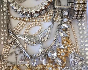 Clear Rhinestone Broken Jewelry Lot Vintage Mod Harvest Repair Craft Repurpose Salvage DIY Weddding Bridal Bouquet Decor Costume Jewelry