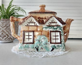 Vintage Cottage Ware Tea Pot Keele St. Pottery England Handpainted House Cottage Home Decor Tea Pot Collectibles Collectible Teapots