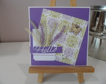 Birthday card with branches and Butterfly card, purple and gold