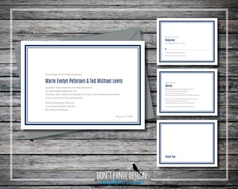 Simple Printable Wedding Invitation Set - Navy Blue Modern Digital Printable Invitation and RSVP Set Navy