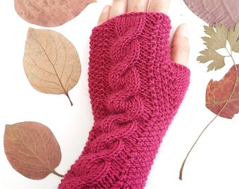 Magenta cable knit gloves -  Knit fingerless gloves Fingerless gloves  Women gloves Christmas gifts Cable knit arm warmers Magenta gloves