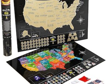 Scratch off world map travel with us by blackmaps on etsy full color deluxe black scratch off map united states usa map scratch usa world gumiabroncs Image collections