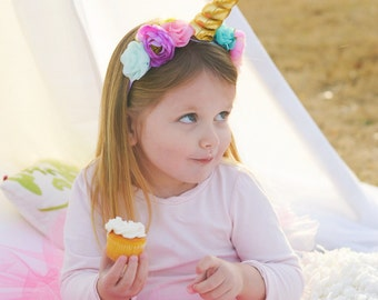 Unicorn Headband - Unicorn Costume - Unicorn Horn - Girls Halloween Costume - Unicorn Birthday- Unicorn Flower Headband - Unicorn Cosplay