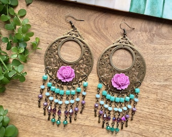Boho Earrings Big Earrings Crystal Earrings Flower Earrings Colorful Earrings Chandelier Earrings Long Earrings Boho Jewelry Gift for Her