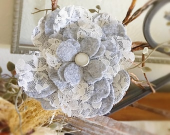 Felt Flower, Gray Flower Brooch, Felt Flower Corsage, Holiday Fashion Flower Jewelry, Heather Fashion Pin Accessory, Wedding, Boutonnièr