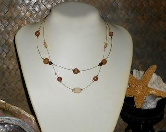 Floating Necklace, Illusion, Boho Beaded Simple Minimal, Bronze Brown - item B321