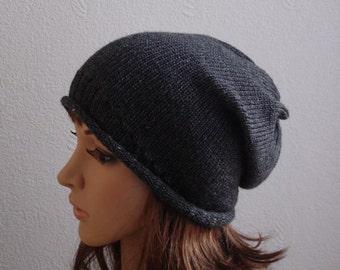 women knit hat, handmade slouchy beanie, dark grey knitted beanie hat, stylish slouch beanies, CHOOSE COLOUR
