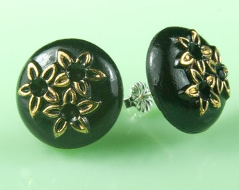 Vintage 1940s Black with Gold Flowers Glass Post Earrings