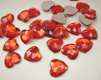 50 Red Hearts Cabochons 12mm (1/2 inch) Acrylic Flatback Heart Embellishments Valentines Day Cards Toppers Crafts